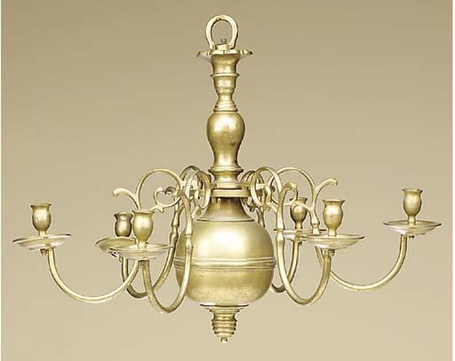 A Dutch brass six light chande