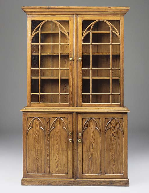 AN ENGLIH PITCH PINE BOOKCASE