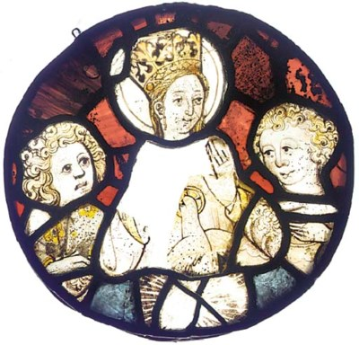 A stained glass roundel fragme