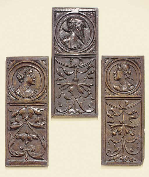 A group of three French or Flemish Romayne relief carved oak panels