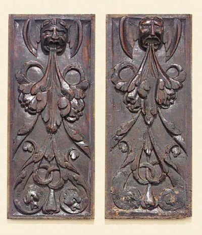 A pair of French relief carved