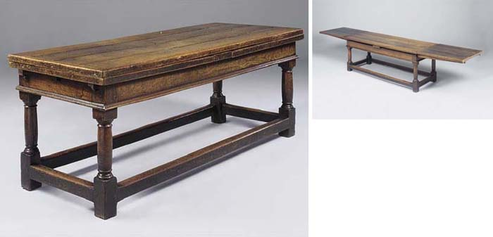 An oak draw-leaf refectory tab