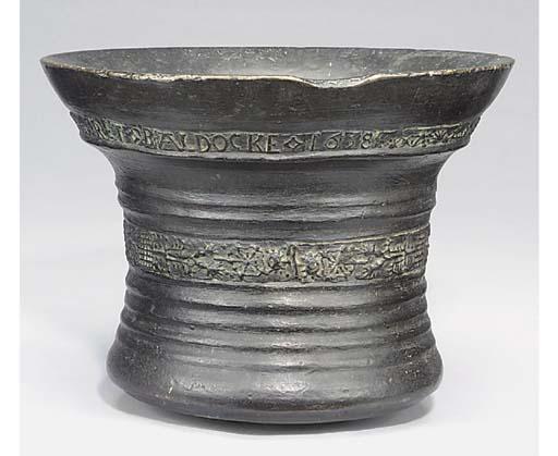 A Charles I bronze mortar of l