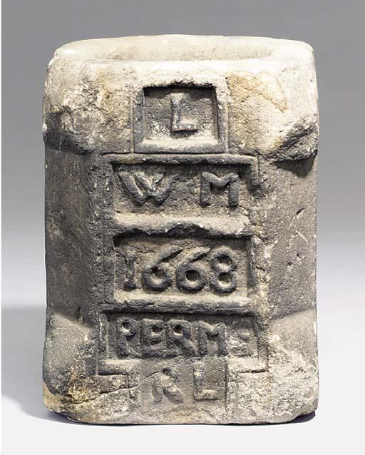 A Charles II sandstone mortar