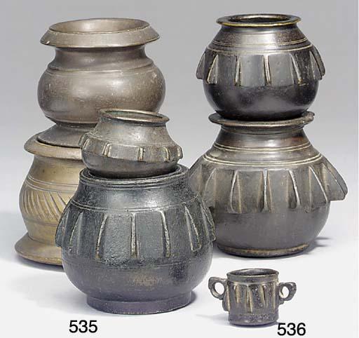 A Spanish bronze mortar of sma