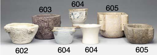 An Italian white marble mortar