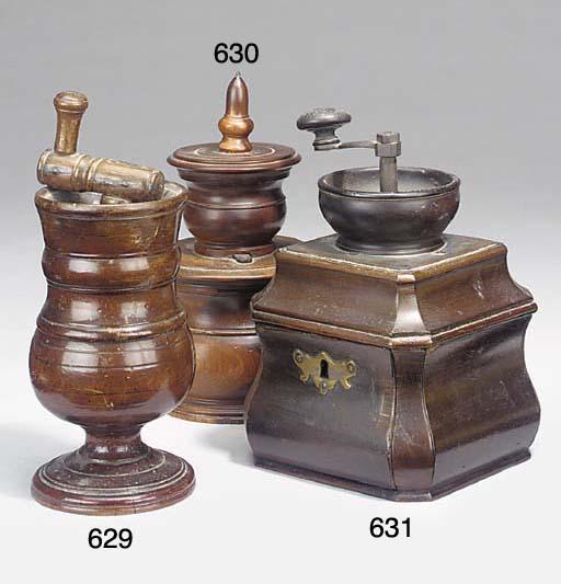 A George II mahogany coffee grinder