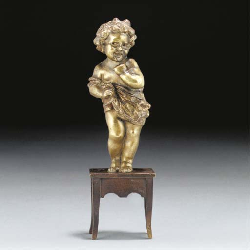 A gilt and patinated bronze fi