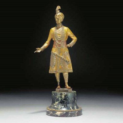 A cold-painted bronze figure