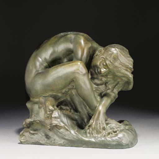 A green patinated bronze figur