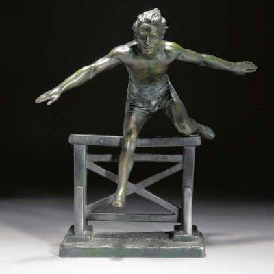 'Athelete Over Fence' a green