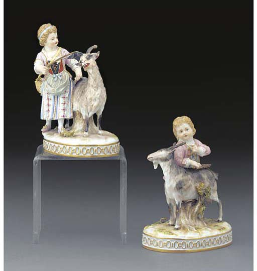 Two Meissen figures with goats