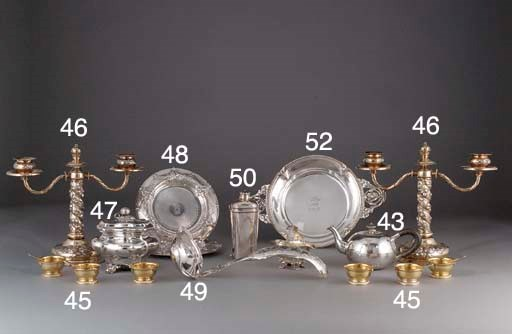 A Set of Six French Silver-Gil
