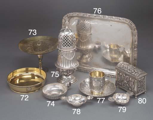A Continental Silver-Gilt Pede