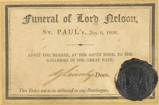 A TICKET TO LORD NELSON'S FUNE