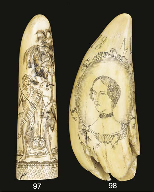 A 19TH CENTURY SCRIMSHAW-DECOR