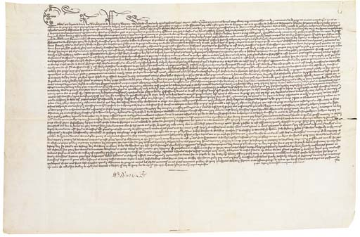 EDWARD IV (King of England, 1461-1470 and 1471-1483). Document signed, Letters Patent proclaiming the conclusion of a thirty-year truce with Francis II, Duke of Brittany, Westminster, 9 June [1467], manuscript on parchment, in French, 390 x 595mm, one membrane, 45 lines in brown ink in a Bastard Anglicana hand, elongated flourishing majuscules in first line. Signed by the King at the foot, 'Edoward R' (the French form of his signature); warranting note on last line in the usual form, 'p[er] ip[s]um Regem et de data p[re]di[cat]a auctoritate parliamenti'; seal slits (small tear and tiny holes extending 60mm from right margin in centre fold, ferrous paperclip stain in upper right corner, light staining in creases on verso).Provenance: Helen Fahnestock Hubbard (posthumous sale of her collection, Parke-Bernet Galleries, New York, 27 March 1956, lot 28).