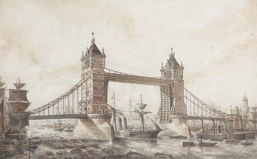 LONDON, Tower Bridge. A collection of designs for Tower Bridge by George D. Stevenson (architect), comprising two drawings of Tower Bridge in pen and ink and wash, 282 x 445mm, showing Tower Bridge from the East, in the projected brick cladding, with the bridge open and closed (light spotting), framed and glazed; and three architectural drawings for Tower Bridge, signed by Stevenson, comprising 'Mason's detail of North Abutment Tower', 2 elevations and two sections, coloured, 625 x 970mm, backed onto canvas, 'Elevation of Main Tower facing Opening Spans', 925 x 663mm, and 'General Plan of Piers and Towers', four plans, (slight wear to margins) and four technical drawings of an 'entrance hall and wooden staircase to a first class London mansion', submitted for the Grissell Medal Competition, backed onto canvas. One of the pen and ink and wash drawings is illustrated on page 2 of this catalogue. (9)