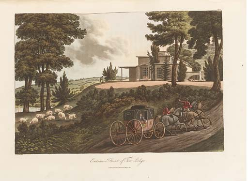 LOUDON, John Claudius (1783-1843).  Observations on Laying out Farms in the Scotch Style, adapted to England, London: John Harding, 1812. 2° (358 x 262mm). Half title, 38 engraved and aquatint plates, 10 hand-coloured, some double-page and/or folding, text with wide margins. (2 plates with clean tears at folds, light marginal soiling.) Contemporary half calf (joints split but cords holding, head and tail of spine chipped, corners bumped, rubbed).