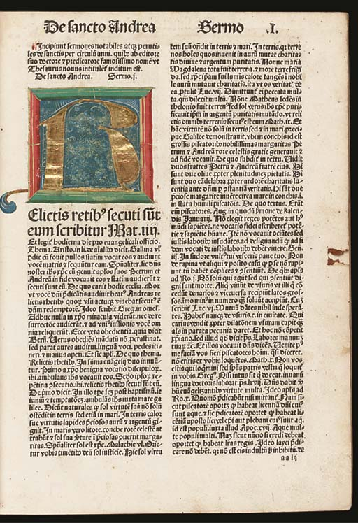 PETRUS DE PALUDE (pseudo-). Sermones thesauri novi de tempore et de sanctis, Nuremberg: Anton Koberger, 18th February 1487. Volume II only (of 2). Chancery 2° (278 x 204mm). Collation: aa8 bb-zz \\i\\i Aa-Mm6 Nn8. 225 leaves (of 226; lacks last blank). 55 lines and head-lines, double column. Gothic types 9:165 (headlines and headings); 8:84 (text). Capital spaces, a few with guide-letters. Opening 16-line initial illuminated by a contemporary Nuremberg artist, rubricated in red with Lombard initials and paragraph marks. (Few headlines cropped, mostly marginal browning and light waterstaining, Bb1-Ee2 with small marginal defect, light marginal worming.) 18th-century vellum over boards (some chipping and splitting to spine). Provenance: Estelle Doheny (morocco bookplate; purchased from Dawson's Bookshop, Los Angeles, 1 August 1941) -- donated to SMS 1941.