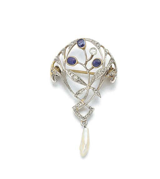 An Art Nouveau diamond and sap
