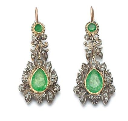 A pair of foiled emerald and r