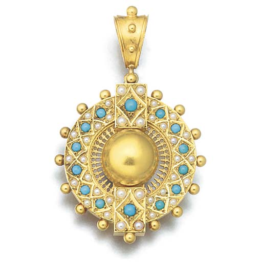 A 19th century gold, turquoise