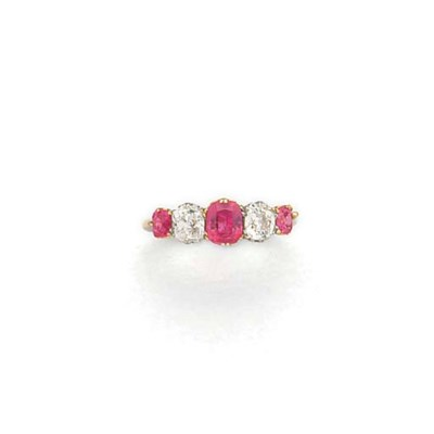 A ruby and diamond five stone