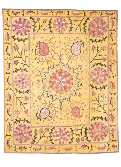 An antique Bokhara silk Suzani