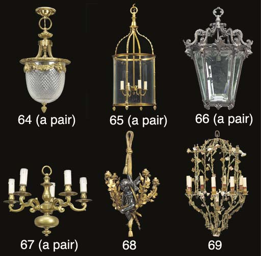 A pair of gilt brass and glass
