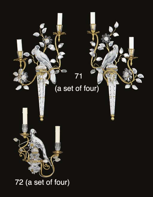 A set of four glass and gilt m