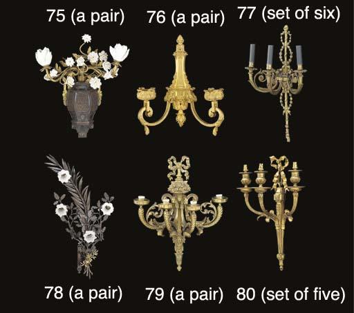 A set of five gilt bronze thre