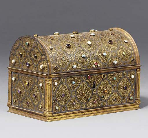 A gilt tooled steel casket