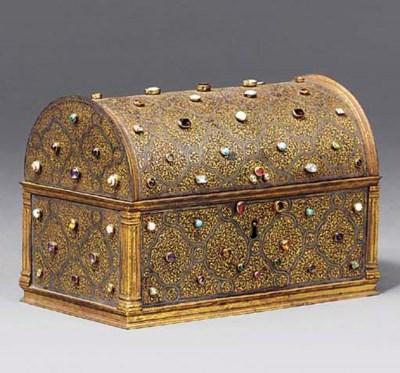 A gilt tooled steel casket