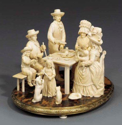 A French carved ivory family g