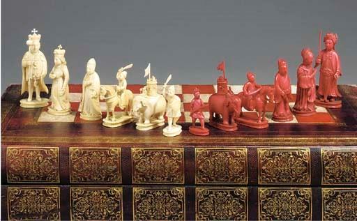 A Chinese ivory chess set