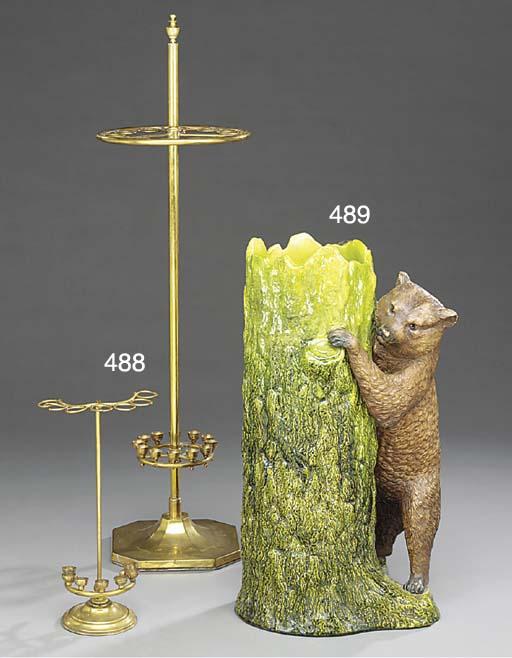 A brass walking stick stand