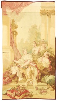 A FRENCH AUBUSSON TAPESTRY PAN