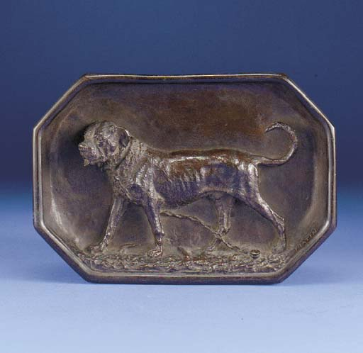 An bronze inkwell in the form