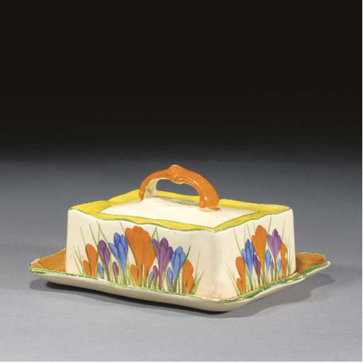 A CROCUS BUTTER DISH AND COVER