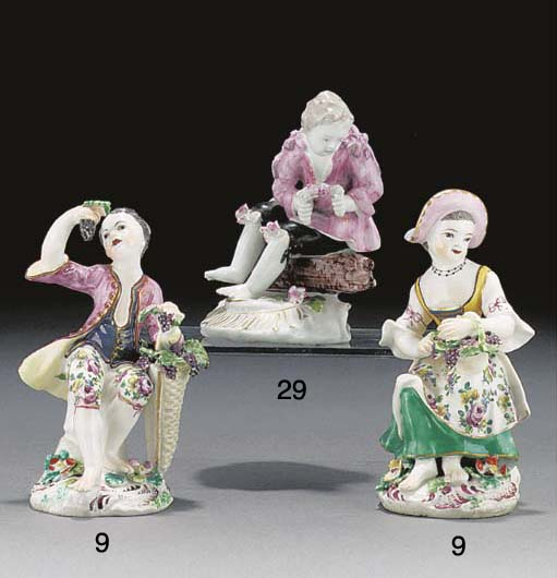 A pair of Bow figures of grape