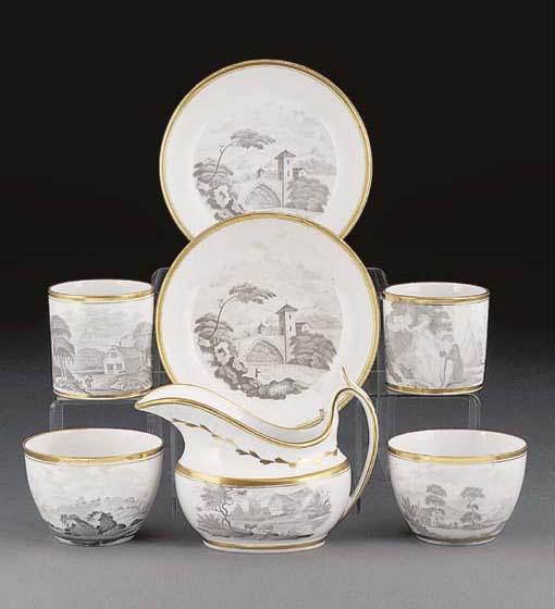 A Spode bat-printed part tea a