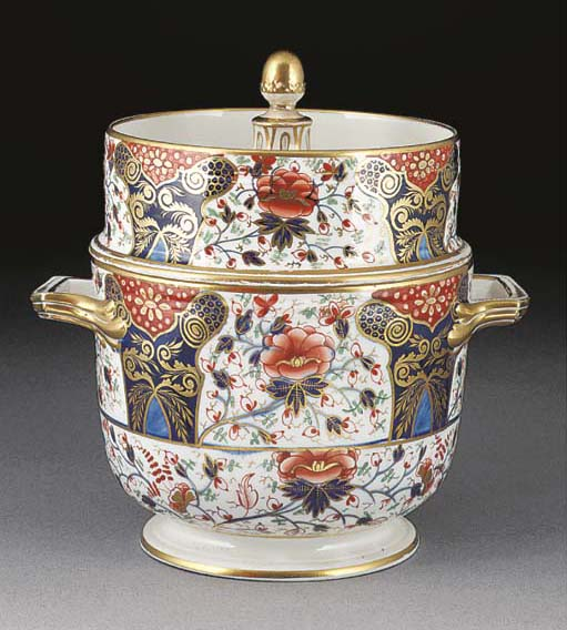 A Crown Derby Imari two-handle