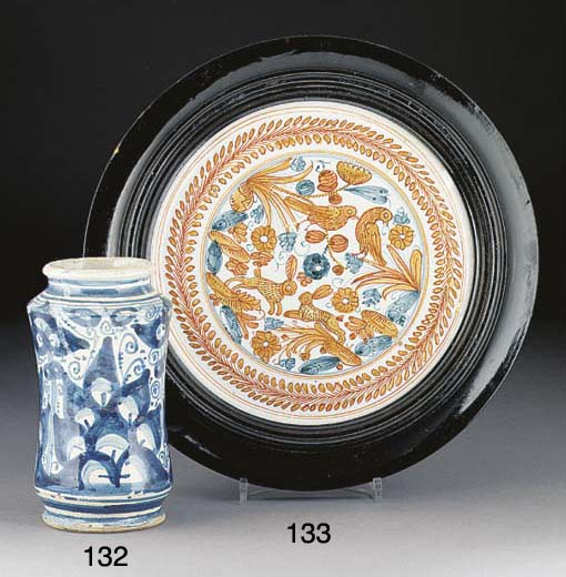 An Italian maiolica blue and w