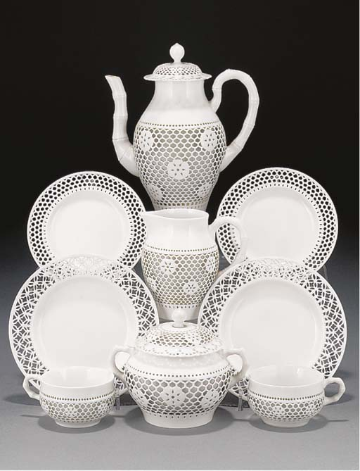 A Sevres reticulated part tea-