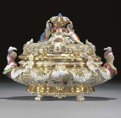 A Meissen armorial tureen and