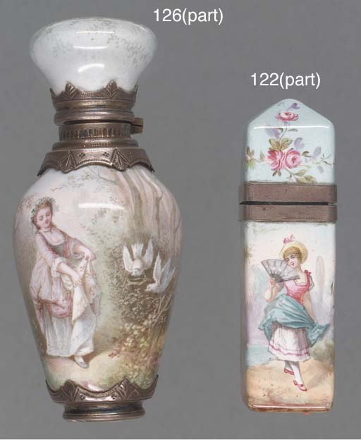 A silver-mounted enamel scent
