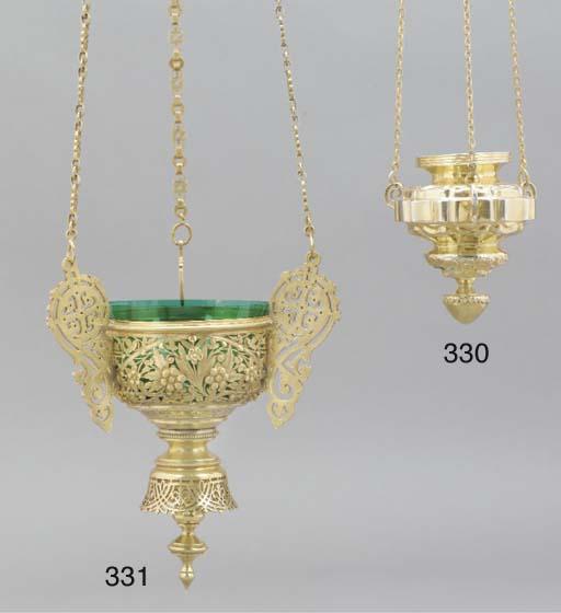 A Russian silver-gilt lampada