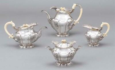 A four piece Russian silver te