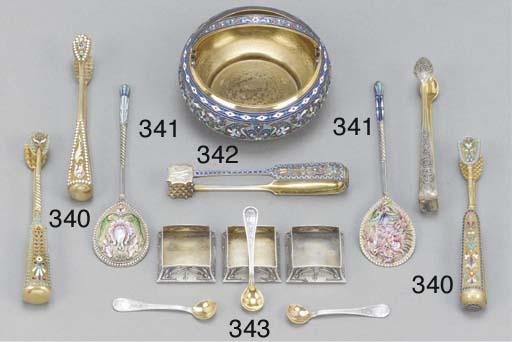 Two Russian enamel spoons
